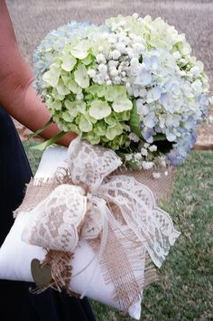Lace and burlap ring bearer's pillow and hydrangea bouquet. Wedding at Lenora's Legacy in Campobello, SC. http://www.lenoraslegacy.com/