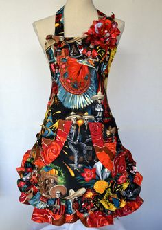 Dia los Muertos Womens Apron   Mexican Fiesta by OliviabyDesign, $34.95 #dia los muertos #womens apron #skull apron