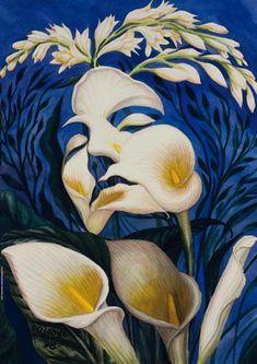 Ecstasy of the lillies by Octavio Ocampo. Surrealism. portrait