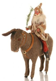 C. 1900 GERMAN SANTA RIDING DONKEY CANDY CONTAINER : Lot 122