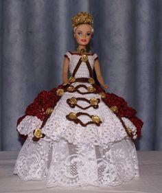 Robe de princesse Barbie blanche et rouge pailleté au crochet