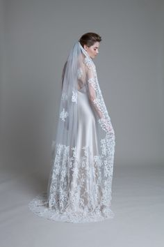 Silk tulle floor length french lace climbing bridal wedding vail by Halfpenny London