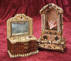 In the Company of the Gentleman Bespoken: 21 Two French Candy Container Boxes with Seashell Art