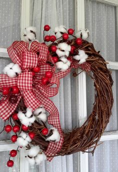 Country Christmas Cotton Wreath, Farmhouse Style Wreath, Happy Holiday Season Wreath, Grapevine Wreath by GoodWreathsByKathy on Etsy Country Christmas, Christmas Crafts, Christmas Decorations, Etsy Christmas, Christmas Trees, Cotton Wreath, Country Crafts, Holiday Wreaths, Grapevine Wreath