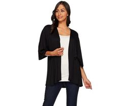 LOGO Layers by Lori Goldstein 3/4 Sleeve Open Front Knit Cardigan