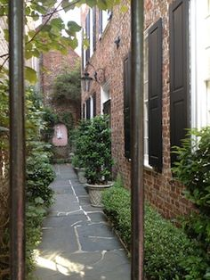 narrow walkway in Charleston...we could do something like this on the side of our house...