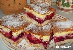 Krémes-szilvás pite | NOSALTY Hungarian Desserts, Hungarian Recipes, Yummy Treats, Delicious Desserts, Yummy Food, Cookie Recipes, Dessert Recipes, Czech Recipes, Baking And Pastry