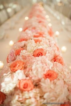 Pink Floral Table Runner of Roses and Hydrangea