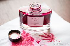 Pilot Iroshizuku Momiji fountain pen ink is a powerful pink, great for writing! Pin this for later.