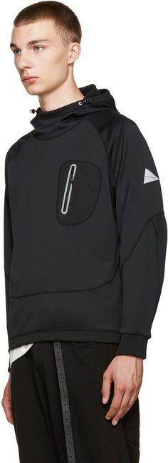 and Wander - Black Zip Pocket Hoodie: