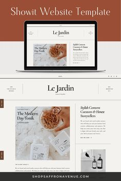 The Jardin Showit Website Templates are not only stylish and sophisticated designs for your website but also requires no coding knowledge. This website template includes 16 creative pages that can be easily customized by changing colors, images and text to reflect your brand. Check out the Demo View at shopsaffronavenue.com. #showit #WebsiteTemplate #website #Design