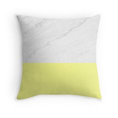 Marble And Yellow Throw Pillow by ARTbyJWP (by-jwp) in Redbubble ---- Buy any 2 and get 15%  ---- #pillow #throwpillow #cushion #pillowcover #marble #yellow #artbyjwp #redbubble -