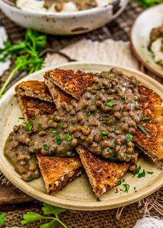 "Healthy, hearty, and satisfying, this Vegan ""Hamburger"" Gravy (SOS) is brimming with protein-packed lentils bathed in an aromatic savory gravy. Lentil Recipes, Meat Recipes, Healthy Dinner Recipes, Whole Food Recipes, Vegetarian Recipes, Cooking Recipes, Vegan Meals, Plant Based Diet, Plant Based Recipes"