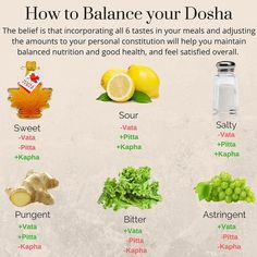 In Ayurveda, there are six tastes or Rasas: sweet, sour, salty, bitter, pungent, and astringent. Ayurveda recommends including each of the tastes in every meal. Come back to this infographic whenever you want to balance your doshas and read our full article link is in the bio!