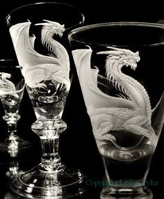 """""""Georgian Dragon""""    Lead crystal hand blown authentic reproduction Georgian style glass, circa 1710, large balluster. Drill engraved. Signed by the blower and Lesley Pyke"""