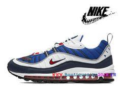 sports shoes af478 82c90 Suprême x Nike Lab Air Max 98 Nouveau Nike Chaussures Pas Cher Pour Homme  Blanc Bleu