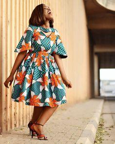 ankara mode African print skater dress with fluttered sleeve// Ankara dress, gathered dress, women's clothing, A African Print Dresses, African Fashion Dresses, African Attire, African Wear, African Dress, Ankara Fashion, African Prints, African Style, African Outfits
