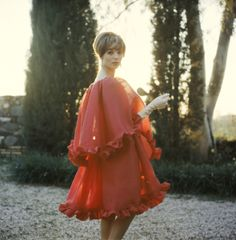 Mark Shaw - Elsa Martinelli in Dior Ruffled Gown, 1961 Very Spring 2014| From a unique collection of Fine Art at http://www.1stdibs.com/art/