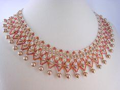 Bronze Pearl Beaded Collar Necklace Beadwork by BeadfulStrings, $73.00