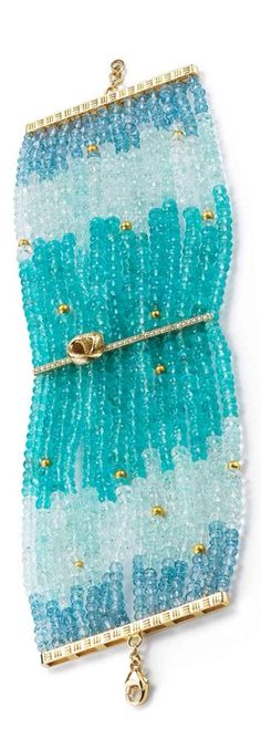 {Daily Jewel} Apatite, Green and Blue Aquamarine, Gold beads and Diamond Bracelet by Mary Esses.... What gorgeous colours !
