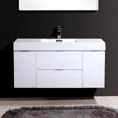 "Kube Bath Bliss 48"" Single Wall Mount Modern Bathroom Vanity Set"