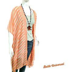 KIMMIE Short sleeve long kimono batik Indonesia Parang pattern.Handmade Batik in Bohemian Style.Summer cardigan Beach Cover.Plus size