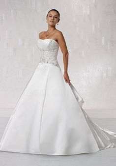 Satin Ball Gown Strapless With Beading Sleeveless Floor Length Wedding Dresses
