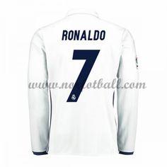 Billige Fotballdrakter Real Madrid 2016-17 Ronaldo 7 Hjemme Draktsett Langermet Ronaldo, Graphic Sweatshirt, T Shirt, Kobe, Sweatshirts, Long Sleeve, Sleeves, Mens Tops, Madrid 2016