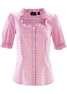 Folkdräktsinspirerad blus, kortärmad, bpc bonprix collection, matt pink/vit, rutig