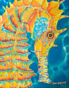 Seahorse painting by Daniel Jean-Baptiste.soon to be wall art in my bedroom. Seahorse Painting, Seahorse Art, Seahorses, Sea Life Art, Sea Art, Silk Painting, Painting & Drawing, Colorful Animals, Tropical Art