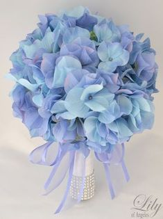 "17pcs Wedding Bridal Bouquet Silk Flower Decoration Package PERIWINKLE BLUE HYDRANGEAS ""Lily of Angeles"". $209.99, via Etsy. I know I could do this for way less #weddingbouquets"