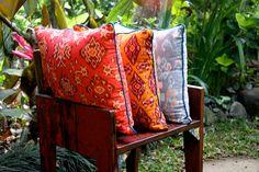 bali ikat pillows at home in the motherland Ikat Pillows, Throw Blankets, Bali, Hand Weaving, Plush, Fabrics, Color, Home, Tejidos