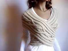 Knitting Pattern Women Cabled Sweater criss cross Vest by Pilland, $5.50 -  I can't knit, but I would pay someone to make this for me in green and NO WOOL!