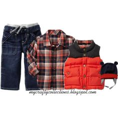 Boy's Outfit - Flannel, Vest, & Hat. Love this look for a little boy, perfect for fall!