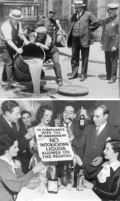 """On this day, December 5, 1933, the era of """"national Prohibition came to an end as Utah became the 36th state to ratify the 21st Amendment to the U.S. Constitution, repealing the 18th Amendment."""" Rhode Island was the only state to have never gone dry.   We dug up these two images representing both sides of the injunction.   Find more of our work at the speakeasy themed Wink & Nod in Boston's South End (interior design by Morris Nathanson Design). www.winkandnod.com"""