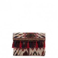 Red Multi Foldover Fabric Clutch W/ Tassels   Keighley   Free Shipping on Orders $30+