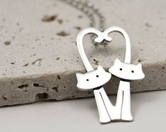 Kitty Cat Necklace with Heart Tails - Sterling Silver Cat Jewellery - Cat Lover Gift