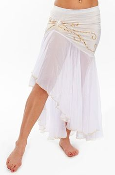Mermaid Belly Dance Skirt with Gold Swirl Pattern - WHITE