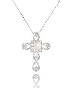 comprar crucifixo prata com zirconias cristais e quartzo rosa com detalhe em pérola semi joias religiosas online