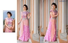 PEACH GEORGETTE GOWN WITH EMBROIDERY WORK