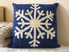 Snowflake cushion knitting project by Vikki Bird