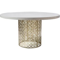 Pre-owned Jonathan Adler Nixon Dining Table ($1,425) ❤ liked on Polyvore featuring home, furniture, tables, dining tables, gold, lacquer furniture, white lacquer furniture, white furniture, lacquer dining table and second hand furniture