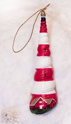 Lighthouse Hand Painted Seashell Ornament