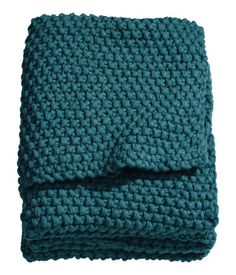 H&M Teal knitted blanket