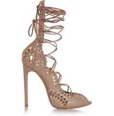 Azzedine Alaia Studded lace-up leather sandals, Nude
