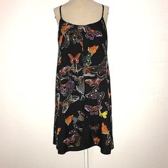 Topshop dress womens 8 black multicolor butterfly print sleeveless shift #Topshop #ShiftDress #AnyOccasion