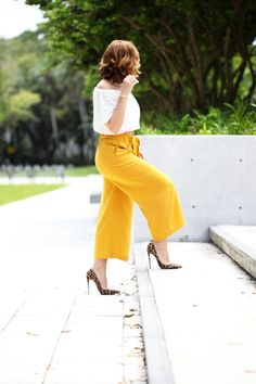 Blame it on Mei Miami Fashion Blogger 2016 Elegant Look Date Night Outfit Choker Shoulder Eyelet Crop Top Mustard Yellow Culottes Soft Curls on Short Hair Louboutin Leopard Heels Chanel Boy Transition Look to Fall