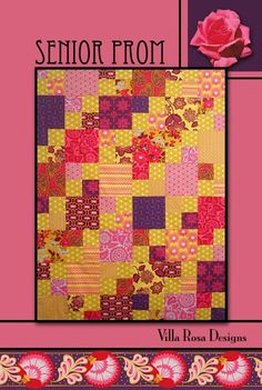 Senior Prom Quilt Pattern from Villa Rosa Designs Uses Fat Quarters Colorful Quilts, Small Quilts, Layer Cake Patterns, Villa Rosa, Missouri Star Quilt Tutorials, Quilt In A Day, Patchwork Quilt Patterns, Patch Quilt, Quilt Blocks