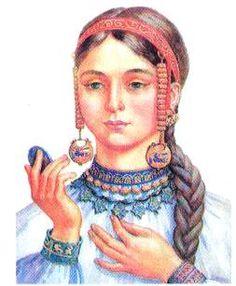 National hairstyles Ukraine. Hair and jewelry girl Kyivska Rus (photo-reconstruction O. Minzhulina)