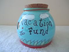 "Vintage N D Hand Painted "" Vacation Fund "" Ceramic Piggy Bank Jar "" BEAUTIFUL "" #ND"